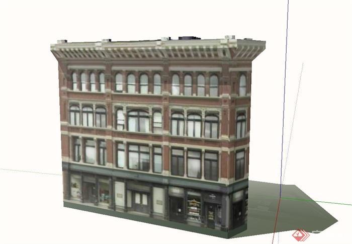 某欧式四层商业建筑设计su模型