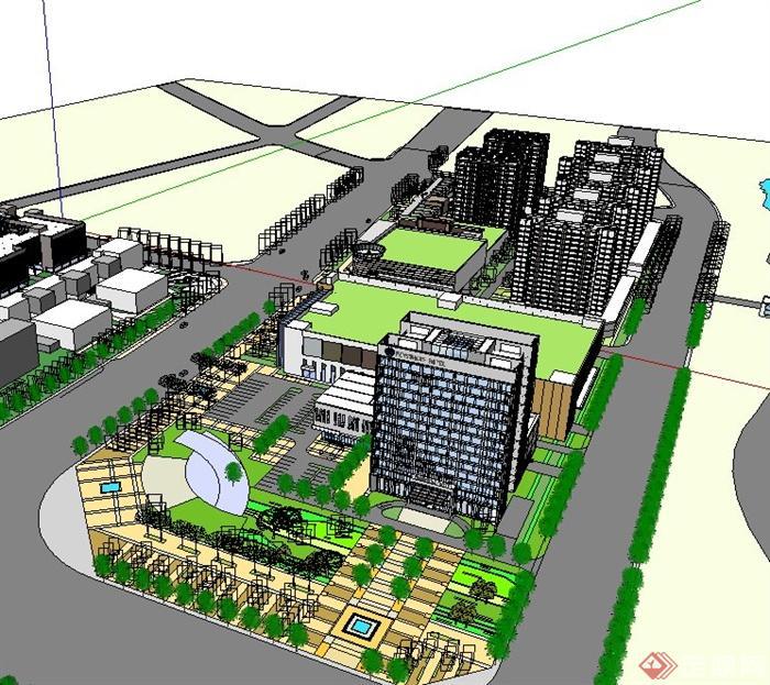 现代酒店式公寓与商业综合体建筑设计su模型[原创]