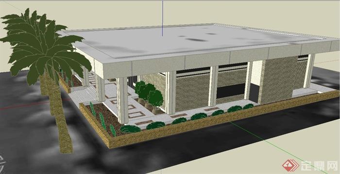 现代某单层住宅平房建筑设计su模型