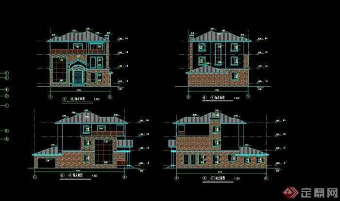 某现代三层别墅建筑设计CAD方案图