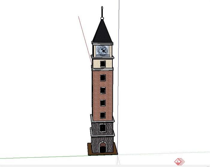 某欧式六层钟塔楼建筑设计su模型