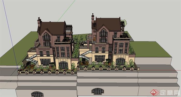 两栋欧式三层别墅建筑设计sui模型