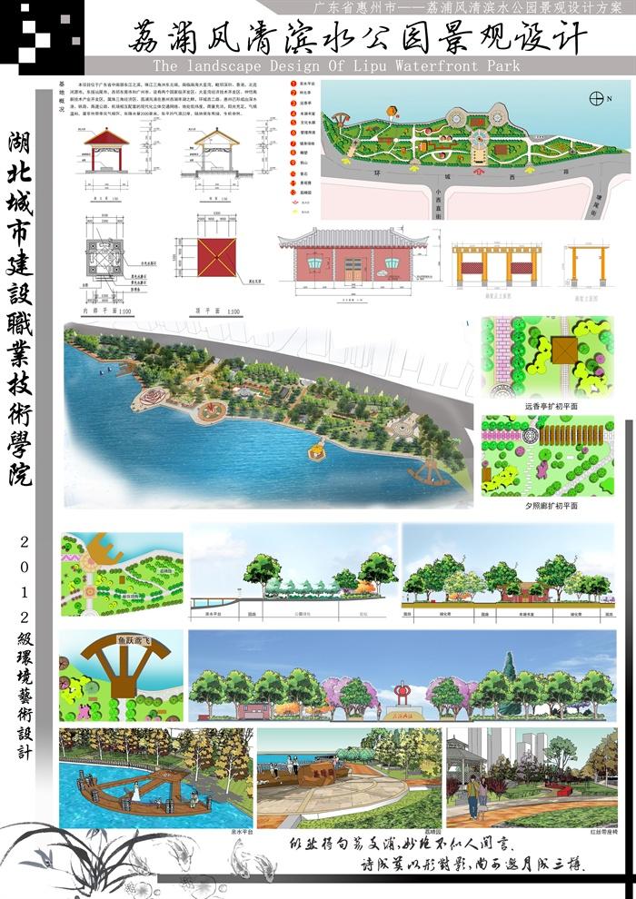 滨水公园景观设计psd展板方案