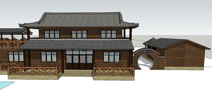 现代中式风格农家乐建筑设计su模型