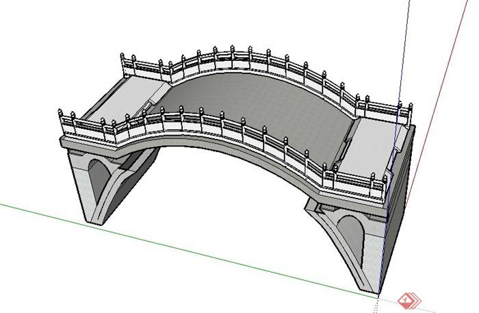 园林景观节点圆拱桥设计su模型(1)