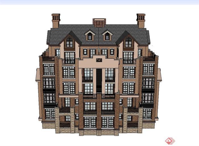 某欧式五层别墅住宅建筑设计su模型(1)