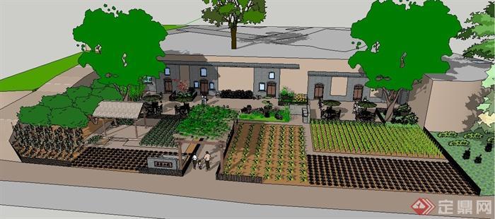 某农家小院庭院景观su模型