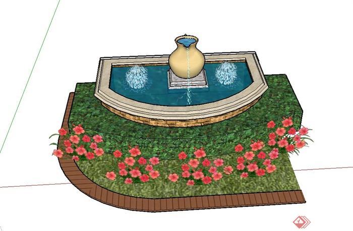 园林景观喷泉水景与花池组合设计su模型