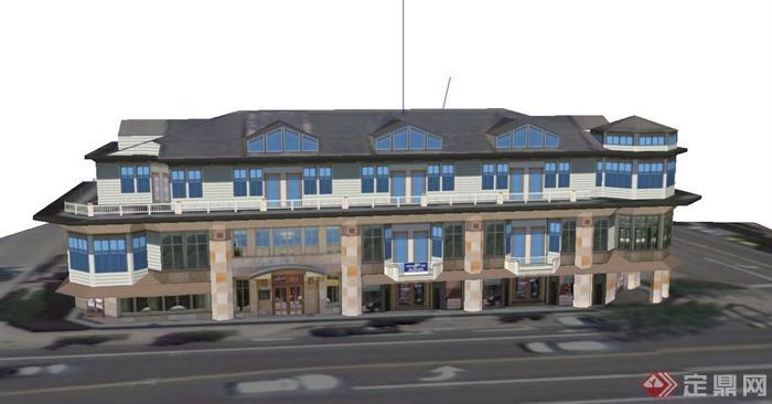某欧式三层石膏墙板商业建筑设计su模型