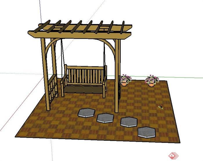 园林景观廊架,花钵,铺装