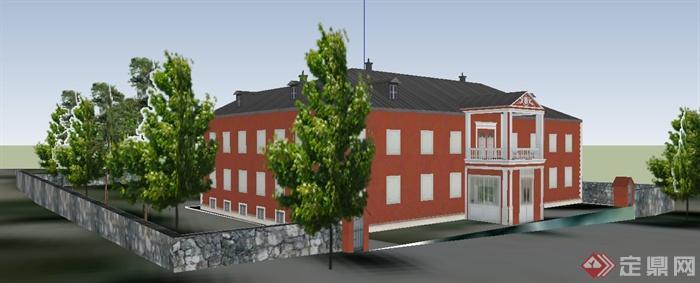 现代简欧二层别墅建筑设计su模型