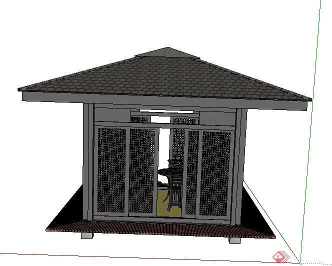 现代中式四角凉亭及桌椅组合su模型图片