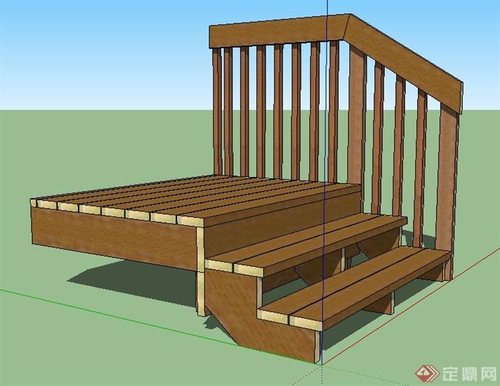 木制台阶踏步及栏杆su模型
