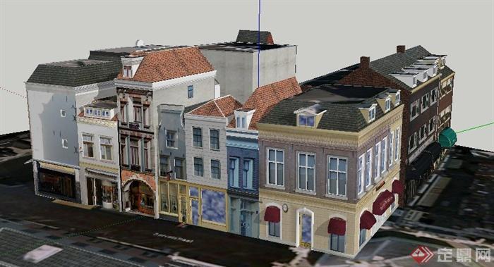 某地欧式风格商业街建筑su模型
