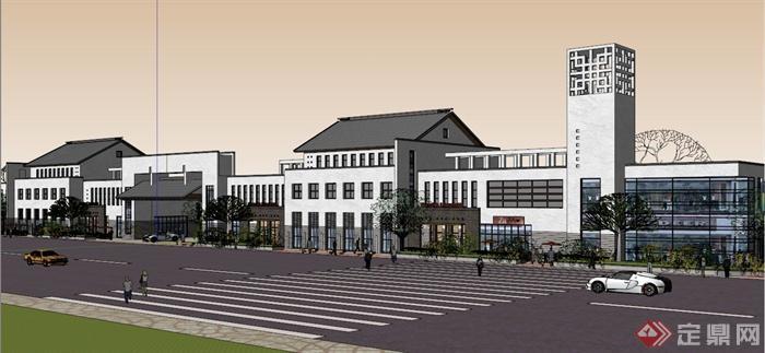 新中式沿街商业楼建筑设计SU模型