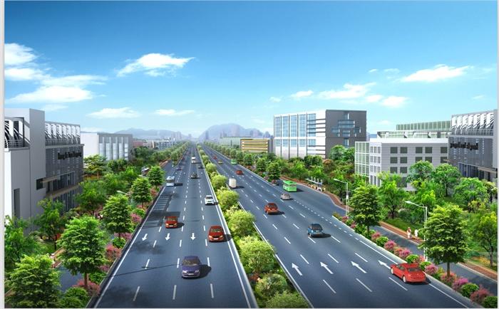 三张城市道路景观psd效果图