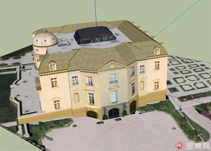 某两层欧式方形别墅建筑设计su模型