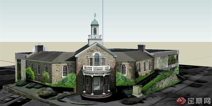 某欧式单层图书馆建筑设计su模型