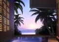 庭院,庭院景观,水景,平台,茶桌椅