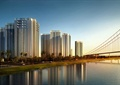 滨水建筑,高层住宅,桥梁,住宅楼
