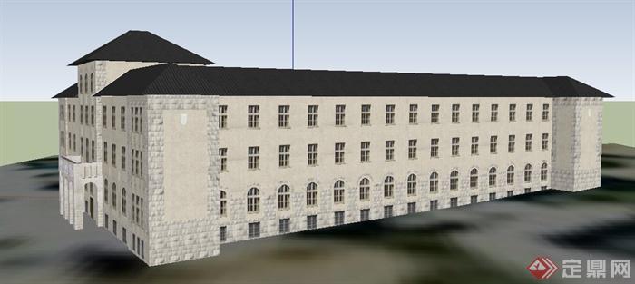 欧式风格四层办公楼建筑设计su模型