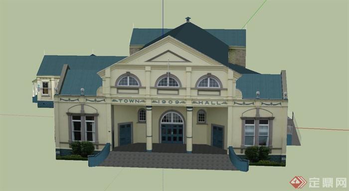 某欧式校园商铺建筑设计su模型