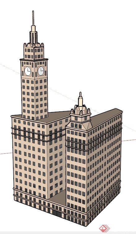 特色酒店大楼建筑设计su白模