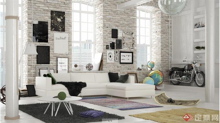 北欧风格住宅客厅室内设计3dmax模型(含效果图)
