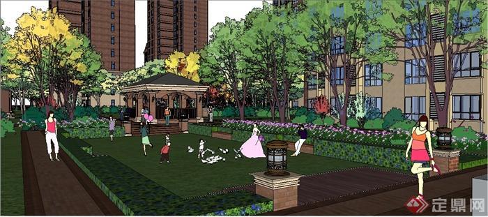 英式风格小区建筑及景观设计su模型