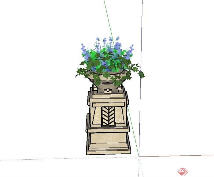 园林景观节点花钵设计su模型