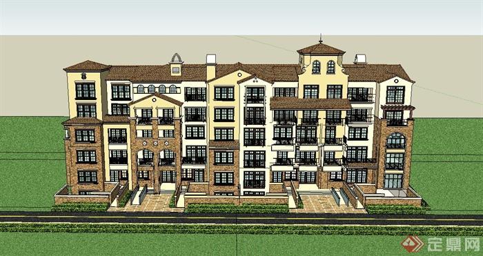 某五层美式别墅联排别墅建筑设计su模型(1)