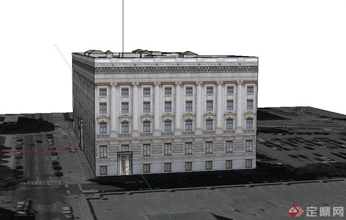四层欧式教堂建筑设计su模型
