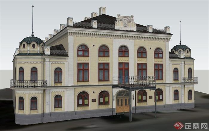 某欧式风格三层办公楼建筑设计su模型