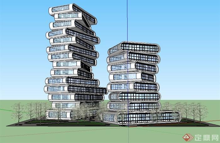 某现代风格创意高层建筑设计su模型