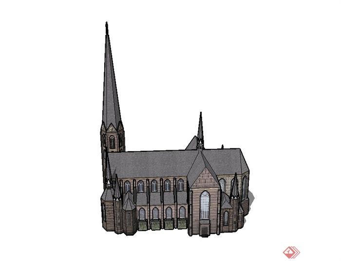 某欧式两层基督教教堂建筑设计su模型