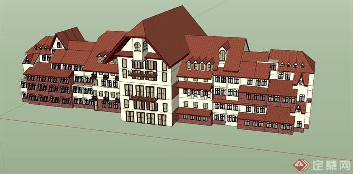 欧式多层酒店建筑设计su模型
