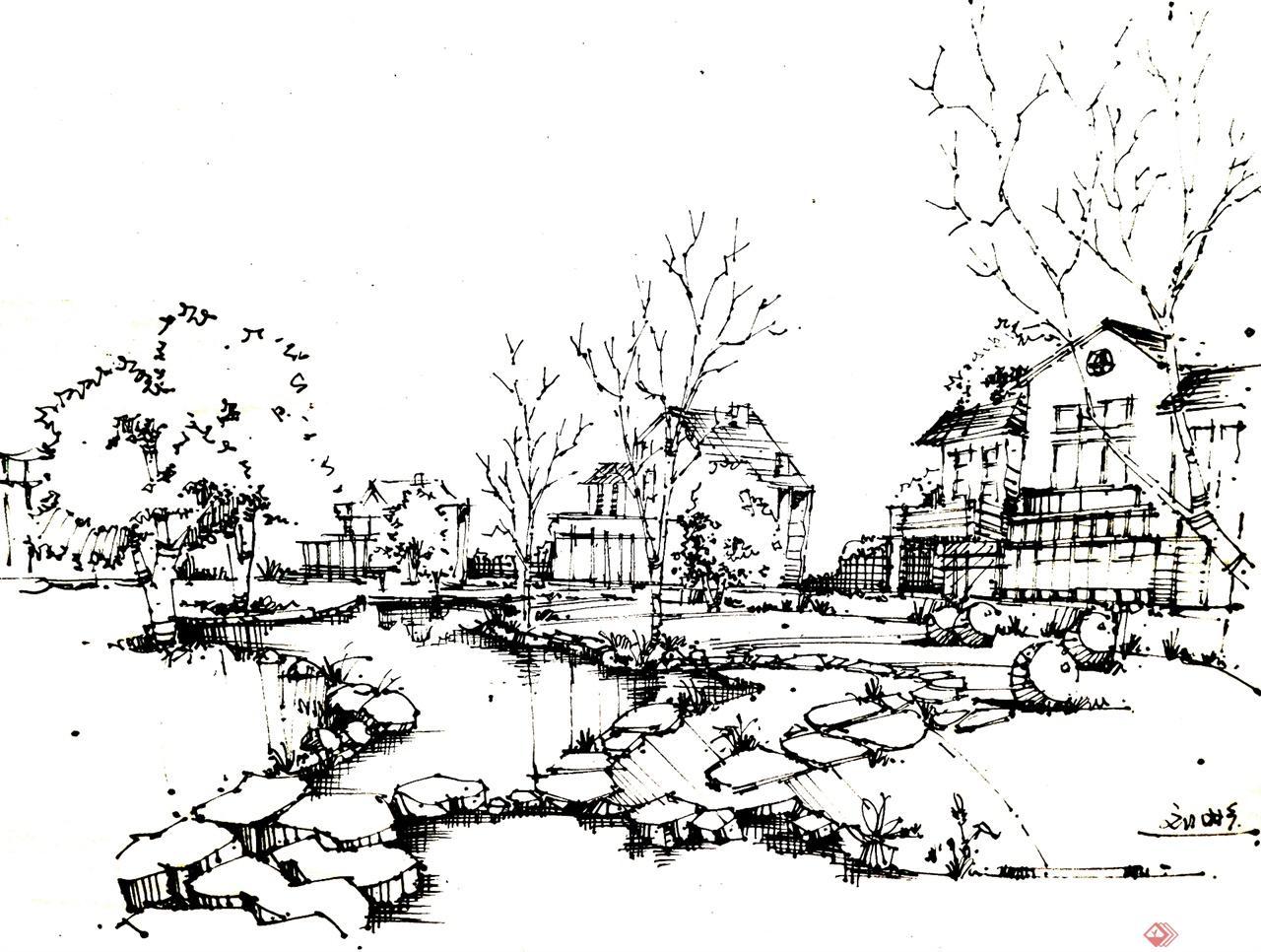 建筑设计钢笔画习作