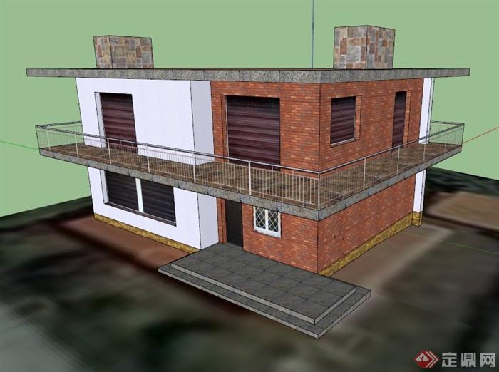 双层库房建筑设计su模型