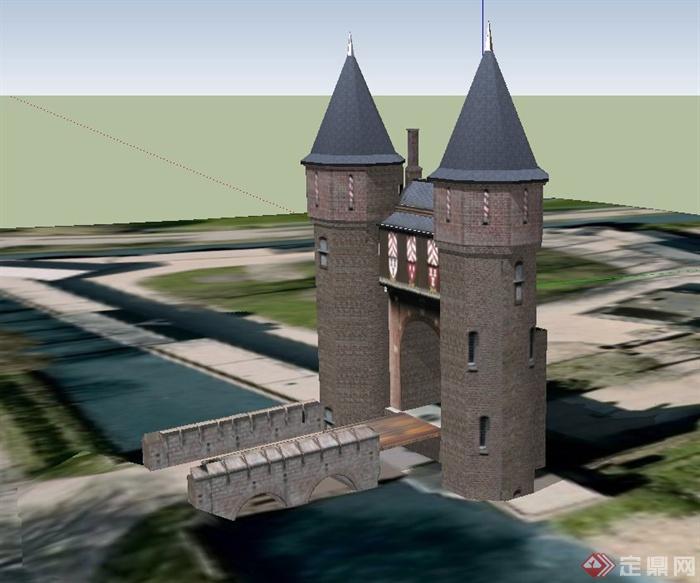某欧式景观城门设计su模型