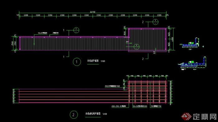 园林景观木栈道与木平台设计cad施工图