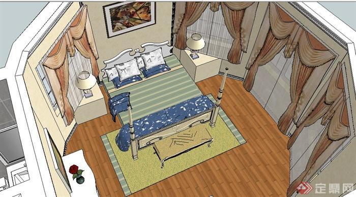 欧式风格四居室室内设计su模型