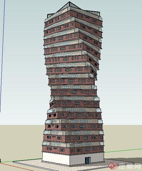 现代螺旋状大楼建筑设计su模型