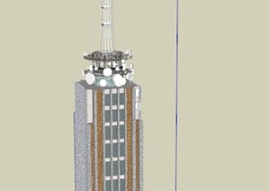 某电视塔大楼建筑设计SU(草图大师)模型