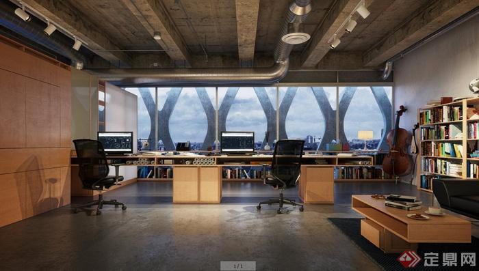 现代风格个人工作室一角室内设计3dmax模型(含效果