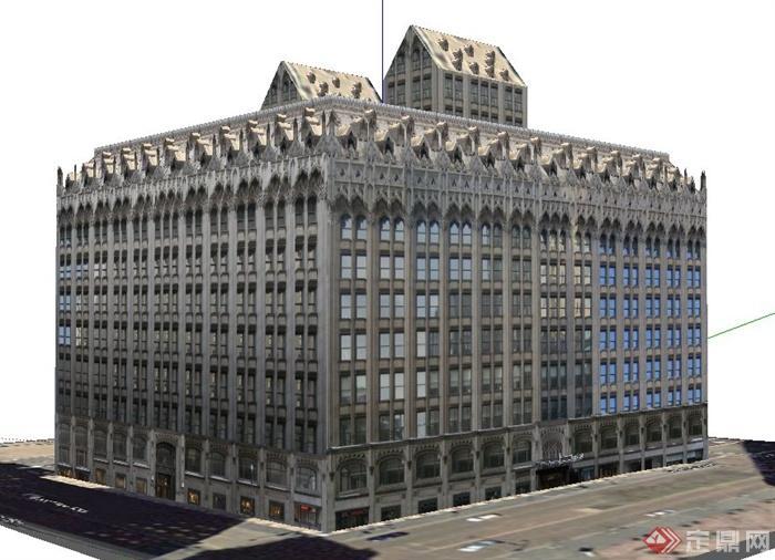 欧式风格老式办公建筑su模型(1)图片