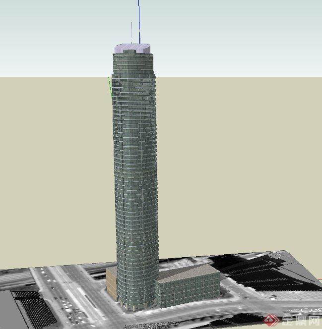 现代某高层圆形信号塔建筑设计su模型