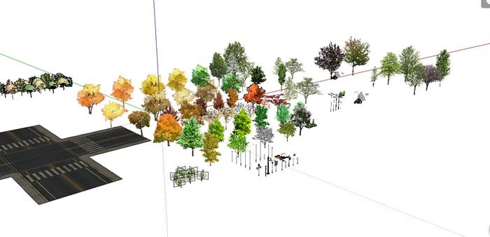 2d景觀配景植物,路燈和椅子設計su模型