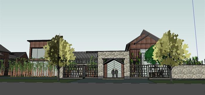 新中式会所建筑设计su模型图片