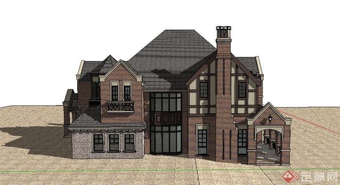 某兩層歐式別墅住宅建筑設計su模型