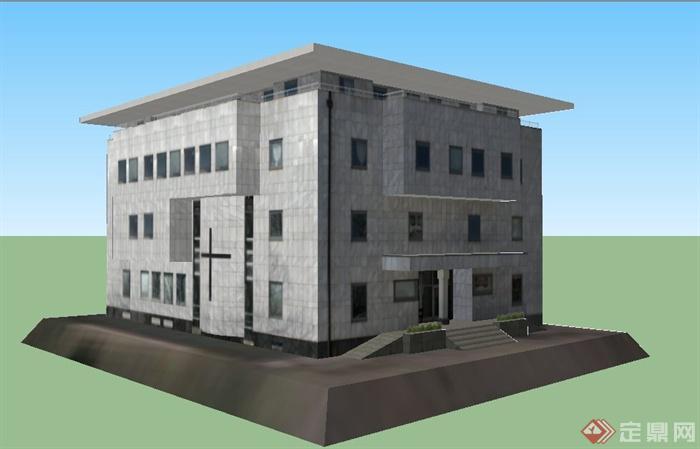 现代模型4层办公楼建筑设计SU风格杭州什么平面设计班好图片